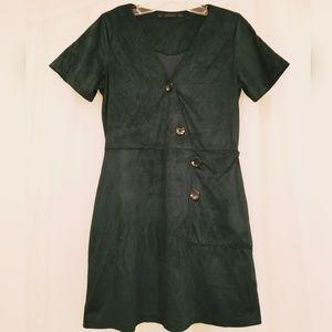 Zara Hunter Green Suede Button Dress w/Pocket